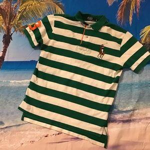 Polo Ralph Lauren big pony green stripe shirt M